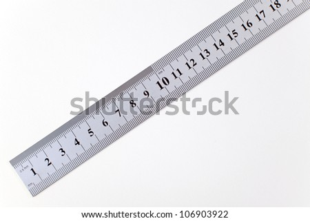 Metric steel ruler, isolated on white.