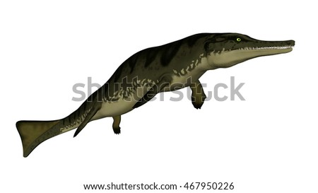 Metriorhynchus prehistoric fish isolated in white background - 3D render