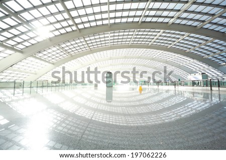 metro in beijing T3 airport modern station - stock photo