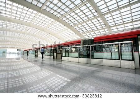 metro in beijing T3 airport  station - stock photo