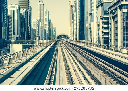Metro  in Dubai, United Arab Emirates - stock photo