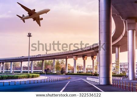 Metro pass through airport in Beijing china - stock photo