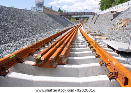 Metro railway construction site in Vuosaari, Finland - stock photo