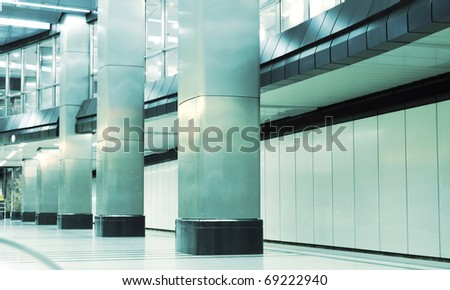 Metro station with square columns - stock photo