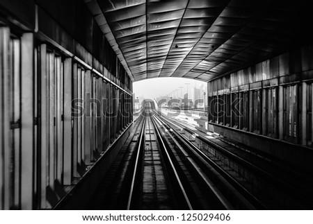 metro subway tracks in the united arab emirates - stock photo