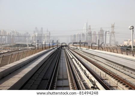 Metro tracks in Dubai, United Arab Emirates - stock photo