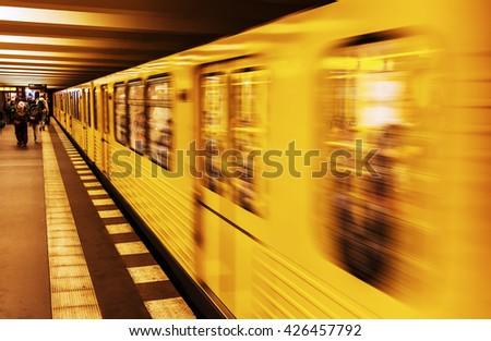 metro train in Berlin, Germany, in motion blur - stock photo