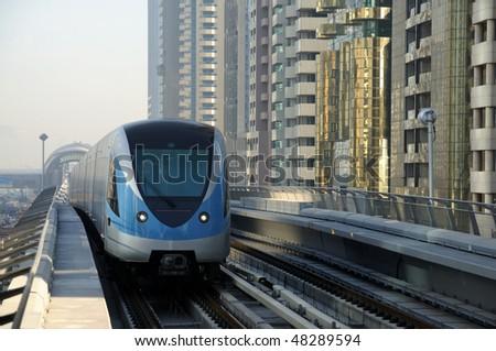 Metro Train in Dubai, United Arab Emirates - stock photo