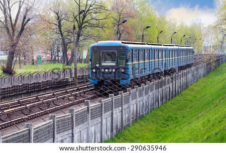 Metro train moving - the most convenient, ecological and fast kind of transport  - stock photo