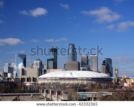 Metrodome in downtown Minneapolis - stock photo