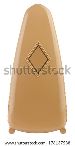 Metronome in closed case isolated on white with clipping path