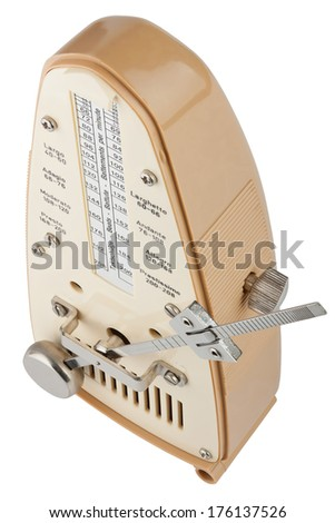 Metronome in motion viewed from above isolated on white with clipping path - stock photo