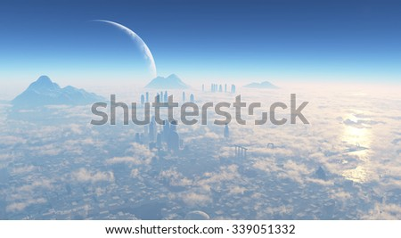 metropolis from the sky - stock photo