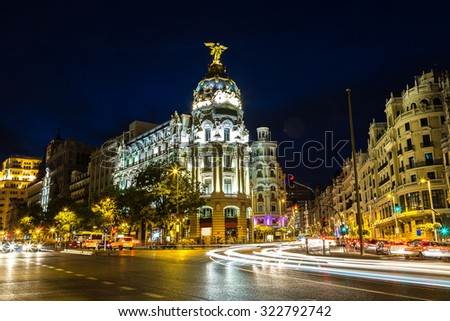 Metropolis hotel in Madrid in a beautiful summer night, Spain - stock photo