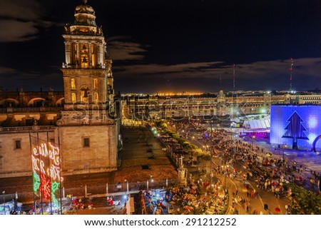 Metropolitan Cathedral and President's Palace in Zocalo, Center of Mexico City Mexico Christmas Night - stock photo