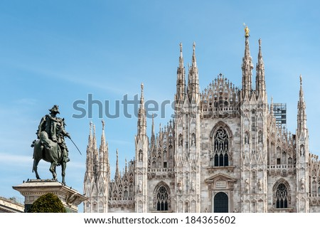 Metropolitan Cathedral-Basilica of the Nativity of Saint Mary - Milan Cathedral - Duomo di Milano, Italy - stock photo