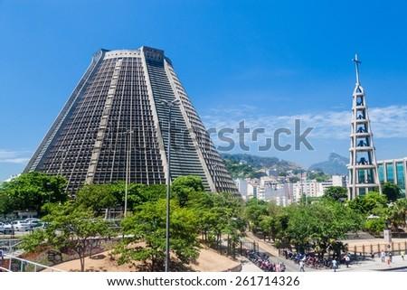 Metropolitan cathedral in Rio de Janeiro, Brazil - stock photo