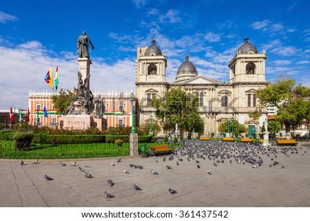 Metropolitan Cathedral is located on Plaza Murillo Square in La Paz, Bolivia - stock photo