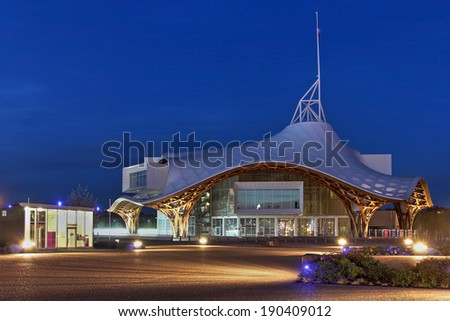 METZ, FRANCE - APRIL 6: Centre Pompidou-Metz, France at twilight on April 6, 2014. The building is a museum of modern and contemporary arts, a branch of Pompidou arts centre of Paris, build in 2010. - stock photo