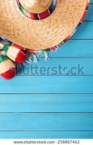 Mexican background, sombrero - stock photo