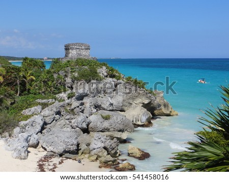 Mexican beach with ruins