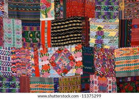 Mexican Blankets for Sale in Market near Chichen Itza - stock photo