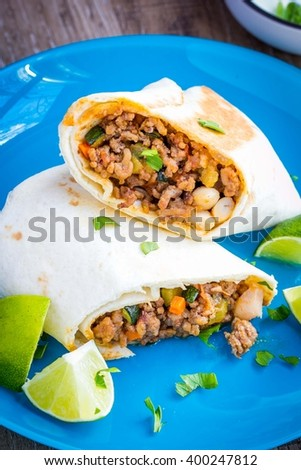 Mexican burrito with beef and vegetables wrapped in tortilla, delicious fast food, tasty snack - stock photo