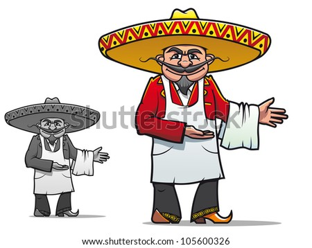 Mexican chef in sombrero for national restaurant design. Vector version also available in gallery - stock photo