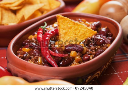 Mexican chili con carne with kidney bean and corn - stock photo