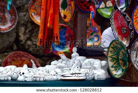 Mexican craft souvenirs market - stock photo