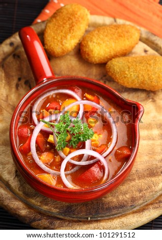 Mexican cuisine with chilli con carne cooked in the pan - stock photo