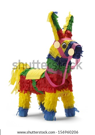 Mexican Donkey Pinata Isolated on White Background. - stock photo