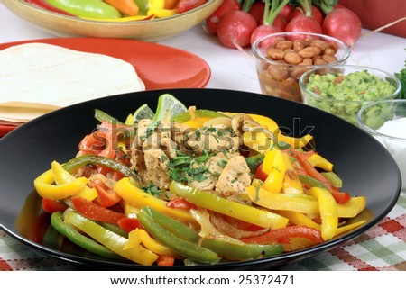mexican fajitas made with delicious fresh ingredients one of  the most famous mexican plates - stock photo