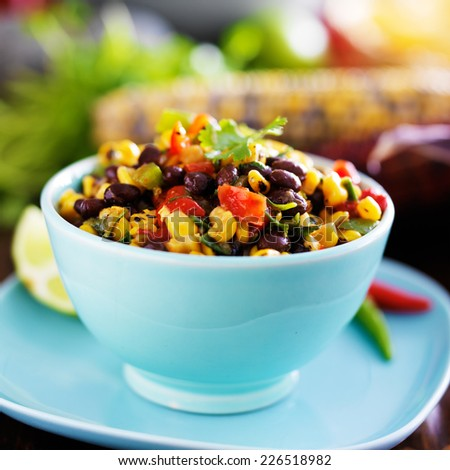mexican fire roasted corn and black bean salsa - stock photo