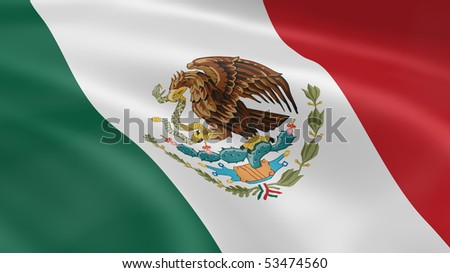 Mexican flag in the wind. Part of a series. - stock photo