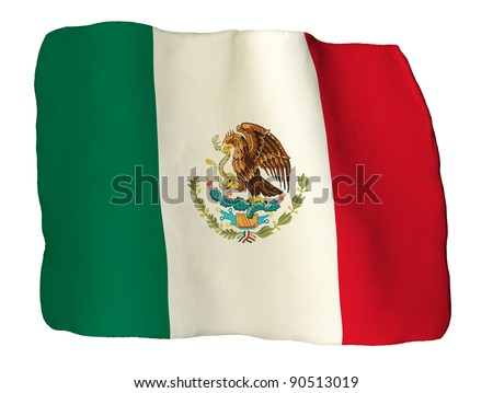 Mexican flag of clay