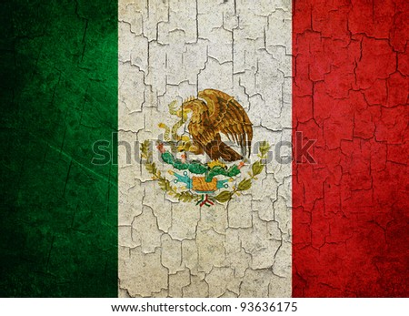 Mexican flag on a cracked grunge background - stock photo