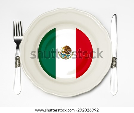 Mexican flag on a plate - stock photo