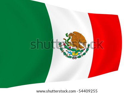 Mexican flag waving in the wind