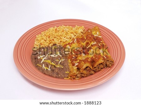 Mexican food - Enchilada dinner - stock photo