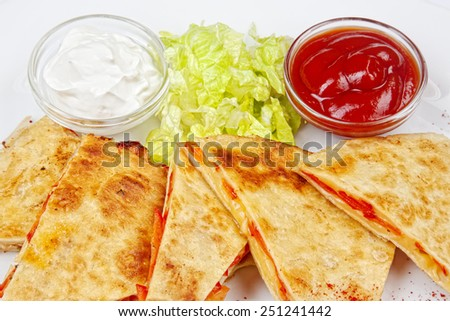 Mexican food from the kitchen on a white background - stock photo