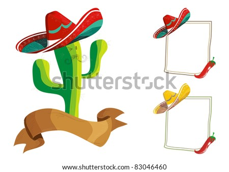 Mexican food menu design set: funny cactus cartoon character illustration and billboard over white. - stock photo