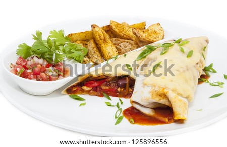 Mexican food restaurant on a white dish - stock photo