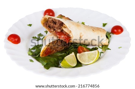 Mexican food tacos isolated on white background  - stock photo