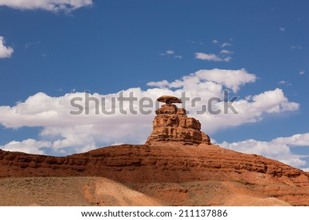Mexican Hat rock formation in Utah - stock photo