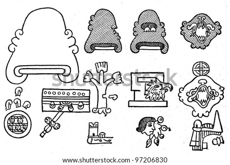 Mexican Hieroglyphs - an illustration of the encyclopedia publishers Education, St. Petersburg, Russian Empire, 1896 - stock photo