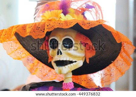 Mexican inspired skull in a hat - stock photo