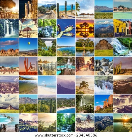 Mexican landscapes collage - stock photo