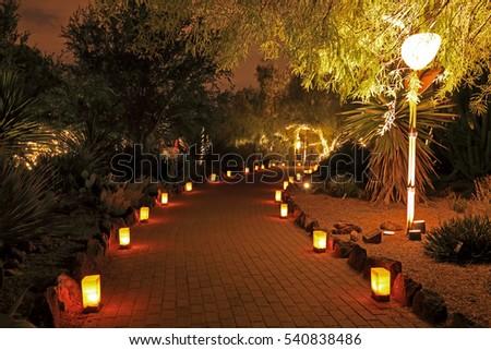 Garden Path Night Lit Luminarias Christmas Stock Photo