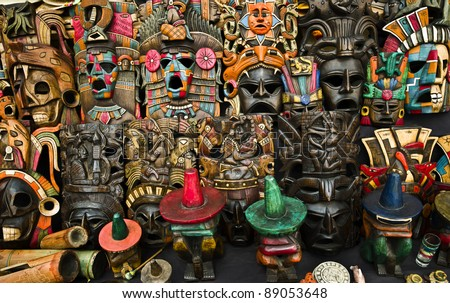 Mexican market in Chichen Itza - stock photo